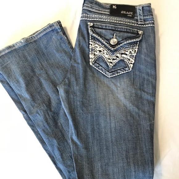 Grace Denim - Grace In LA Jeans Western Style Rhine Stone Pocket